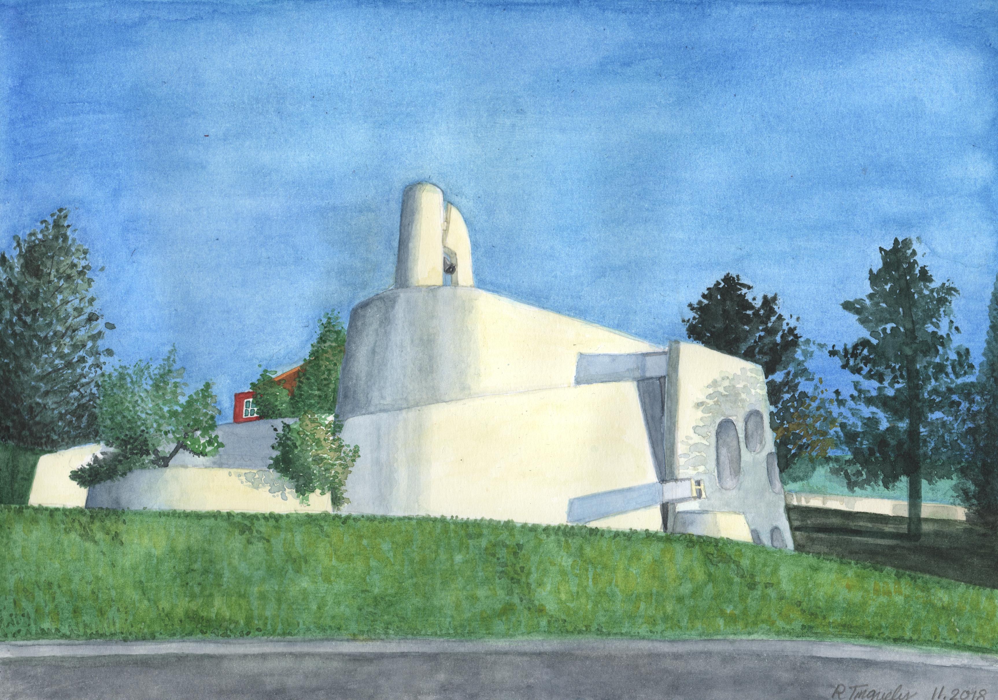 Temple St-Jean, La Chaux-de-Fonds, aquarelle.