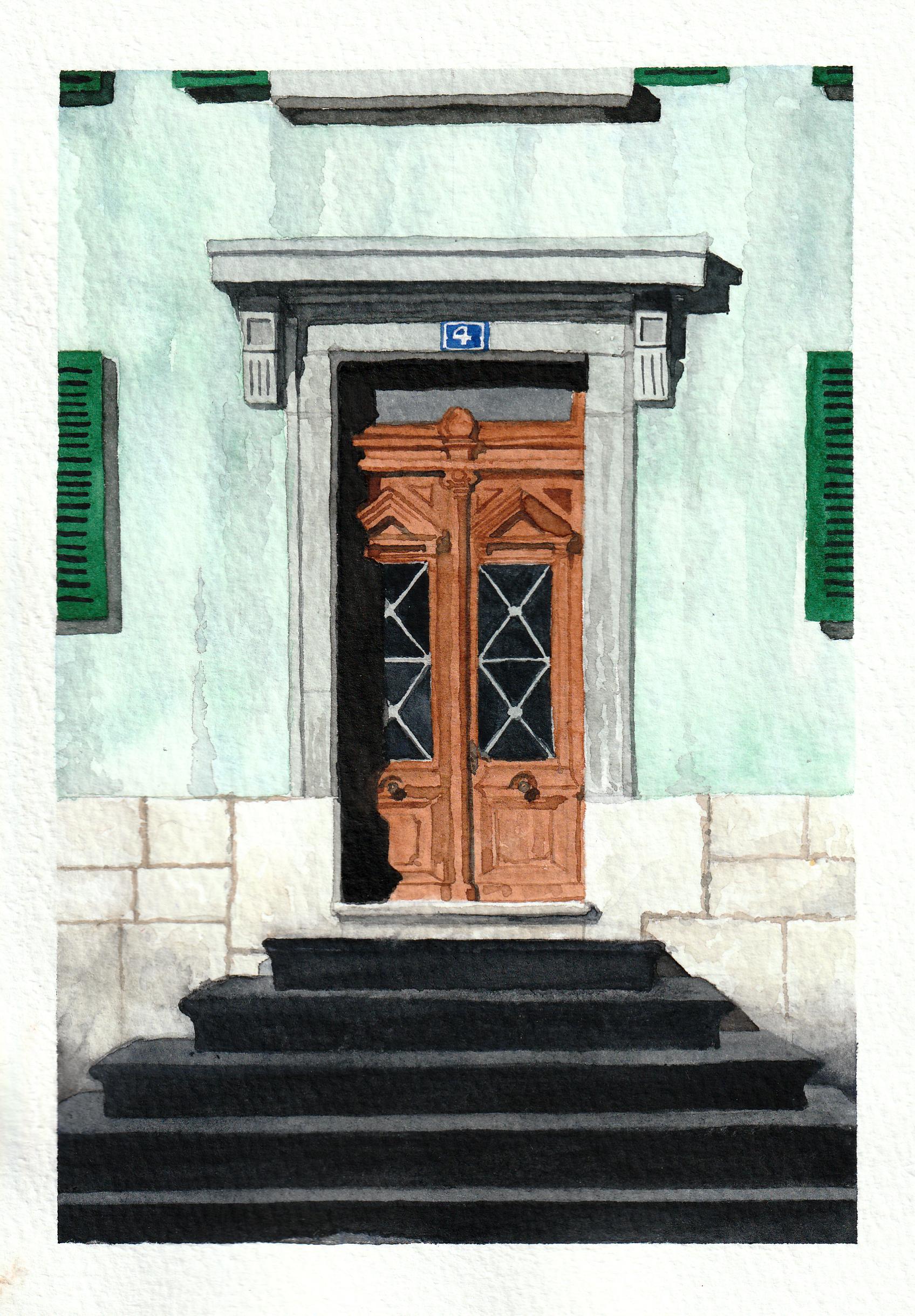 Watercolour painting of door no.4
